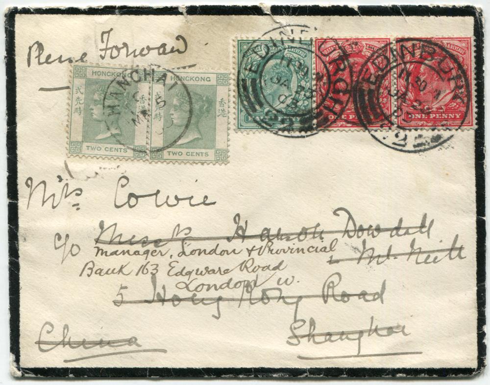 1903 mourning envelope from Edinburgh to Shanghai, franked 1902 ½d, 1d (pair), Edinburgh double ring c.d.s's & Shanghai arrival c.d.s.