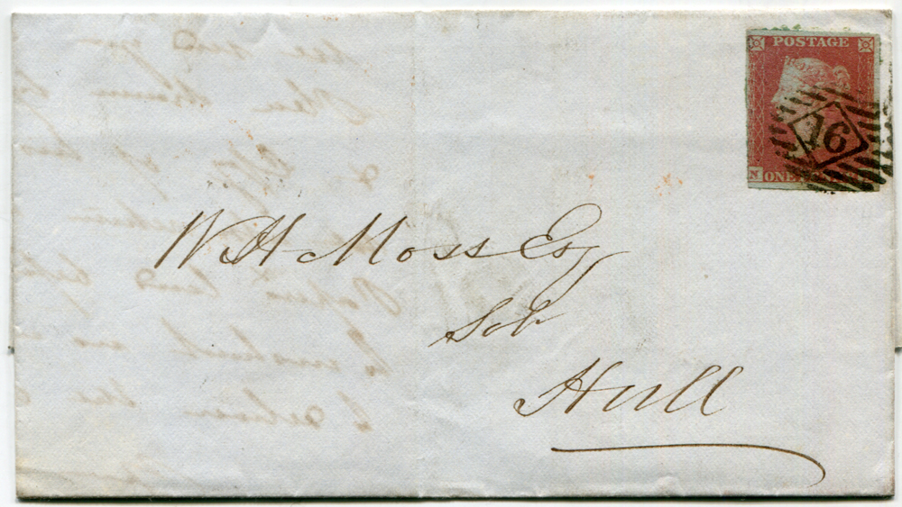 1853 1d lake red Plate 176 NH (three large margins) used on entire from London to Hull, tied by the Inland Office numeral '16'