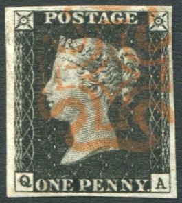 1840 1d black - Plate 1b QA