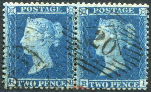 1855 Wmk Large Crown P.14 2d blue Pl.5 RH/RI horizontal pair