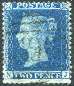 1857 Wmk Large Crown P.14 2d blue Pl.6 NJ, Very Fine Used, SG.35.