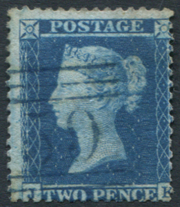 1855 Wmk Large Crown P.14 2d blue Pl.5 JK