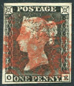 1840 1d black - Plate 1a OE