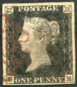 1840 1d black - Plate 1a GE