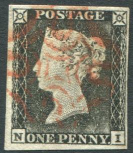 1840 1d black - Plate 1a grey black (worn plate) NI