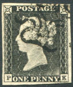 1840 1d black - Plate 1a grey black (worn plate) PK