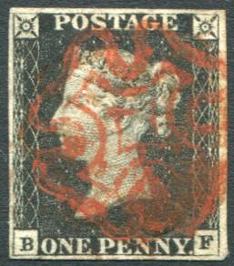 1840 1d black - Plate 1b BF