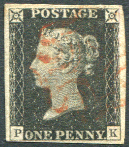 1840 1d black - Plate 1b PK