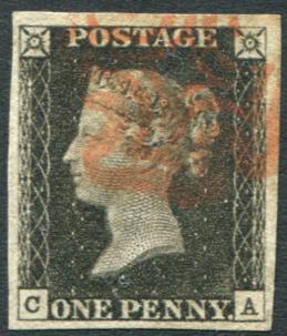 1840 1d black - Plate 1b CA