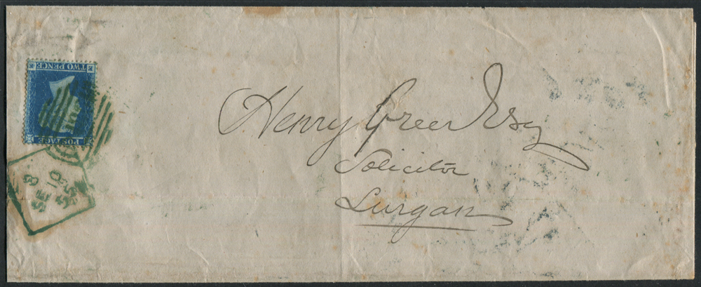 1855 entire from Dublin to Lurgan, franked 2d blue (SG.19), tied by a Dublin Spoon in TRUE green