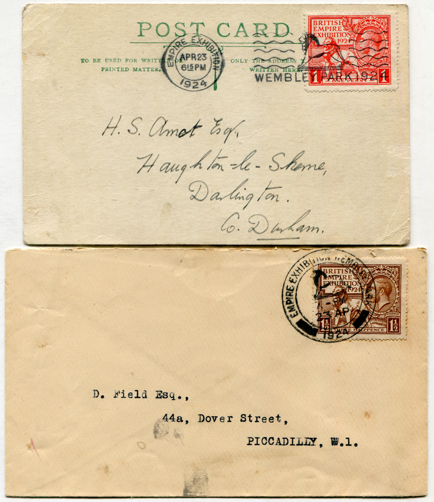 1924 Wembley Exhibition set on two covers, both used on the 1st day of issue 23rd April 1924
