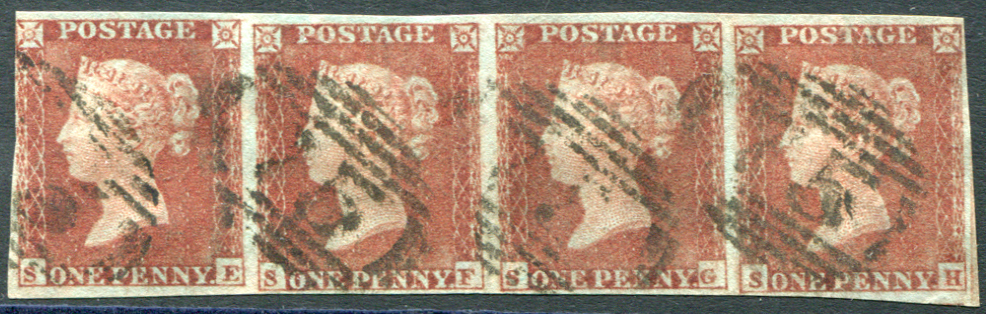 1841 1d red brown Pl.157 SE/SH horizontal STRIP OF FOUR