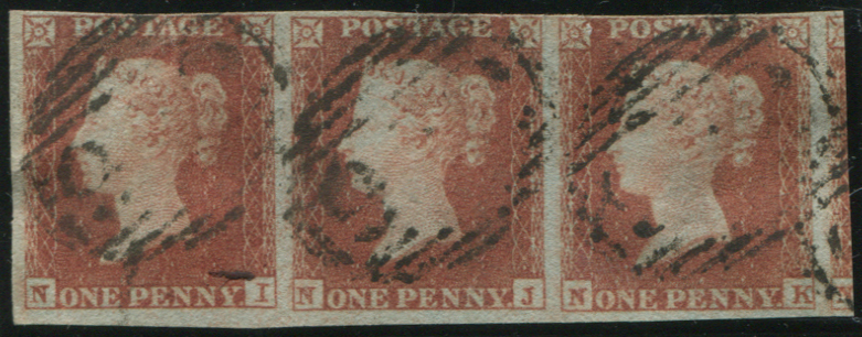 1841 1d red brown Pl.153 NI/NK horizontal STRIP OF THREE