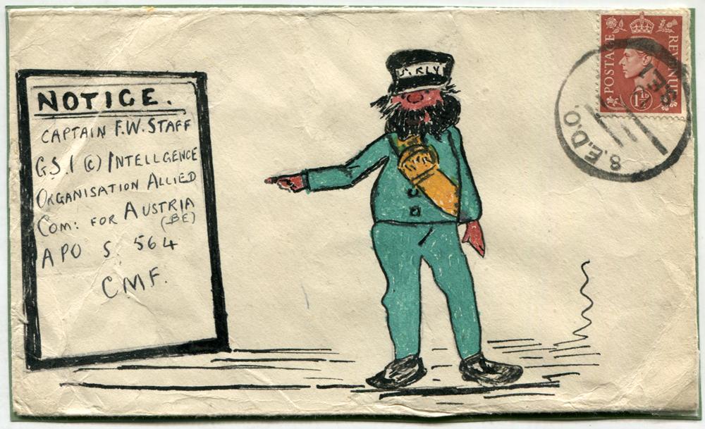 1947 illustrated envelope to Captain F. W. Staff (famous philatelist) at Intelligence Organisation, Austria