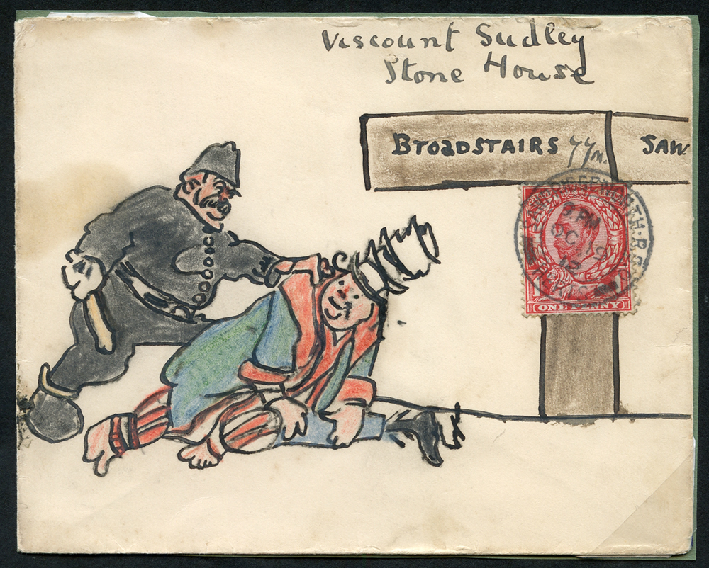 1912 illustrated envelope to Viscount Sudley at Broadstairs, franked 1d Downey