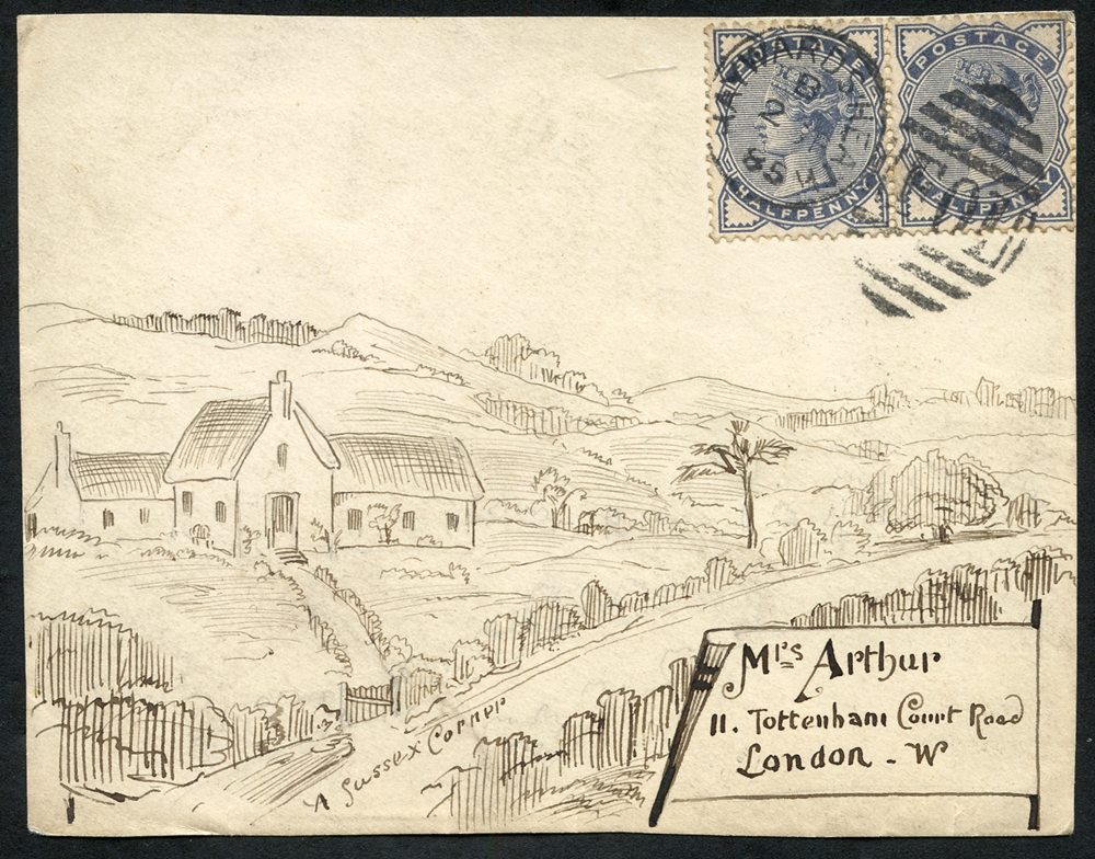 1885 envelope front from Haywards Heath to Tottenham Court Road, franked by ½d slate blue