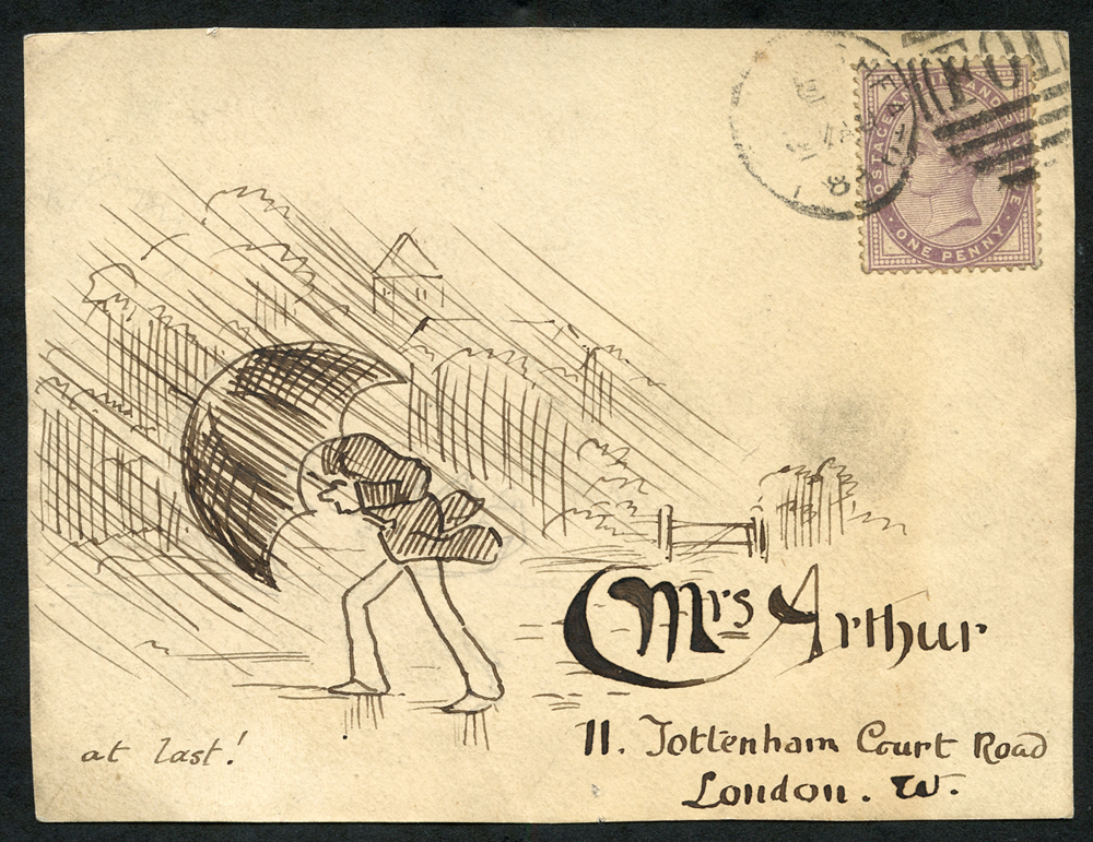 1884 envelope front from Haywards Heath to Tottenham Court Road, franked by d lilac