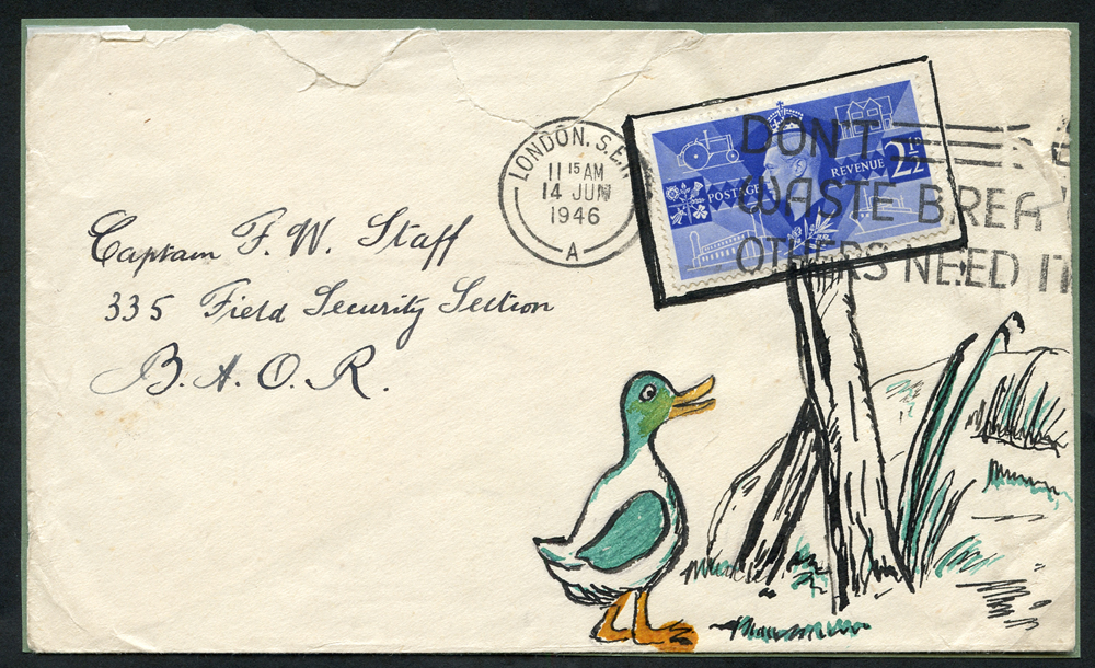 1946 illustrated envelope (roughly opened at top) to Captain F. W. Staff (famous philatelist)