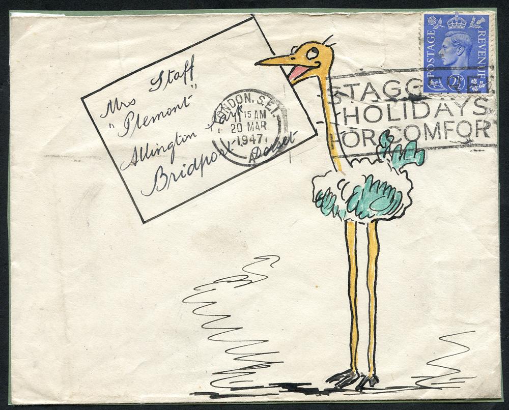 1947 illustrated envelope to Captain F. W. Staff (famous philatelist) at Allington Park, Bridport