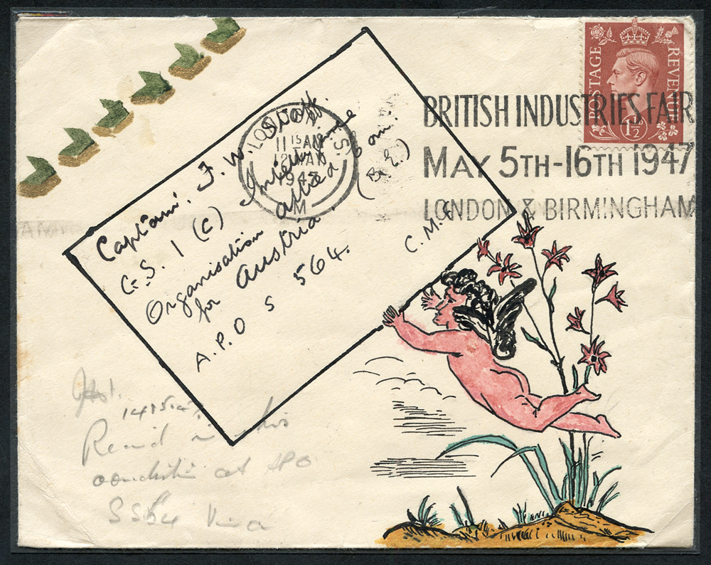1947 illustrated envelope to Captain F. W. Staff (famous philatelist) at Intelligence Organisation, Austria