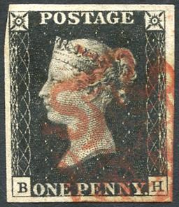 1840 1d black - Plate 1b BH