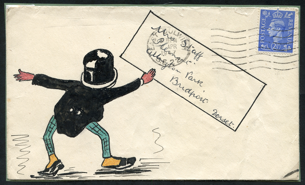 1947 envelope to Mrs Staff at Bridport, franked 2½d defin