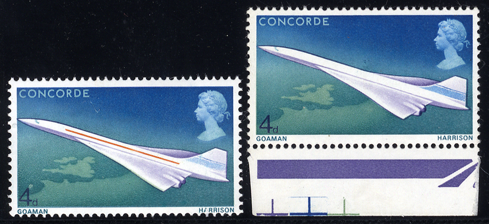 1969 Concorde 4d with MISSING YELLOW-ORANGE & PHOSPHOR, marginal UM