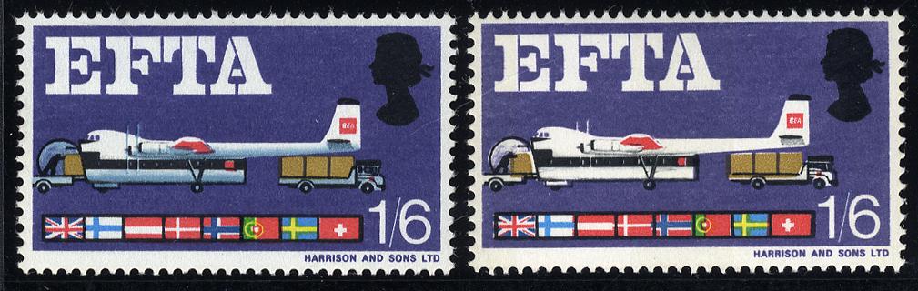1967 EFTA 1/6d Phosphor with NEW BLUE OMITTED, UM