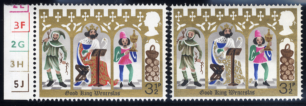1973 Christmas 3½p with BRIGHT ROSE RED (KING'S ROBE) OMITTED, UM