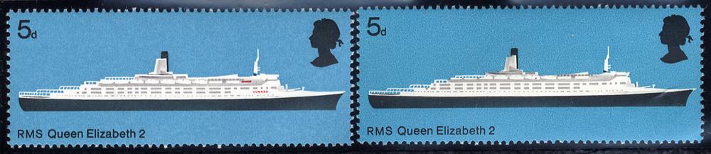 1969 5d R.M.S Queen Elizabeth with MISSING RED, UM