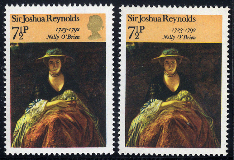 1973 Paintings 7½p GOLD (QUEEN'S HEAD) OMITTED, UM