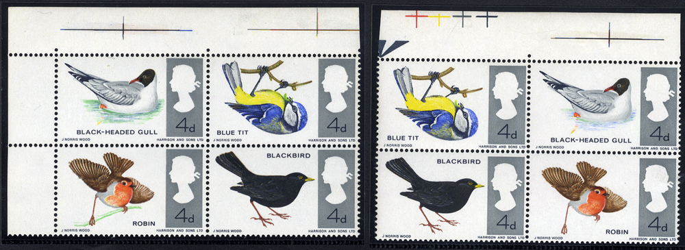 1966 British Birds - UM top marginal block of four with MISSING EMERALD GREEN