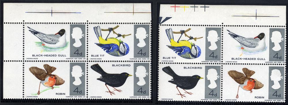 1966 British Birds - UM top marginal block of four with MISSING EMERALD GREEN