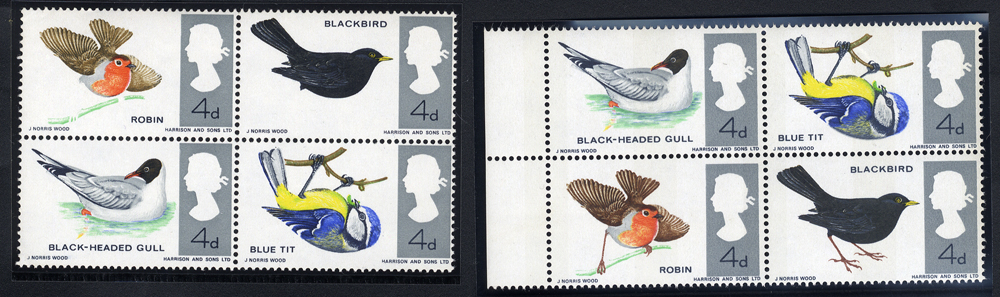 1966 British Birds - UM block of four with MISSING BROWN (missing legs on robin & blackbird)