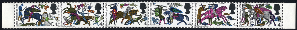 1966 Battle of Hastings 4d strip of six with GREY OMITTED, UM