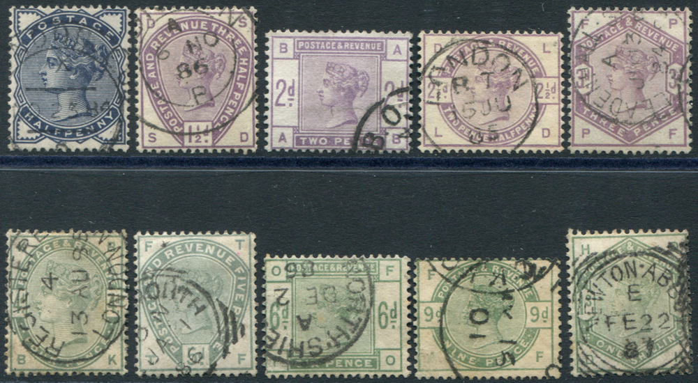 1883 lilac & green set VFU, c.d.s. or squared circle cancels
