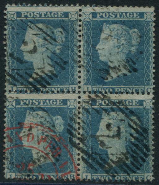 1855 2d blue Plate 5 Wmk Large Crown P.14 BLOCK OF FOUR lett IB/JC