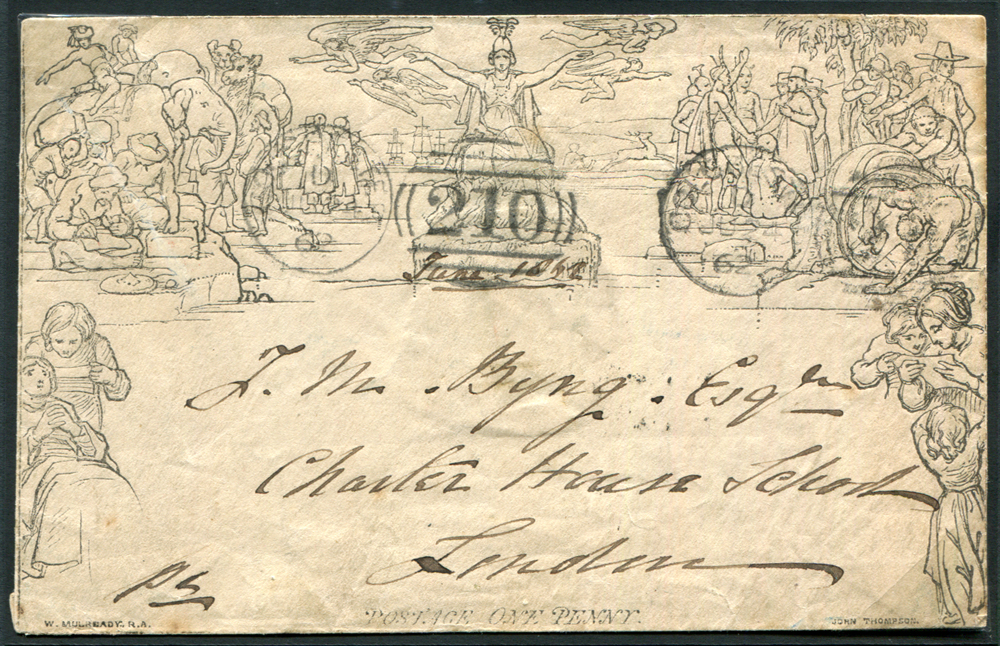 Mulready - 1840 One Penny Envelope Stereo 'A154' Forme 3 LATE USE, sent from Colchester to Charter House School, London