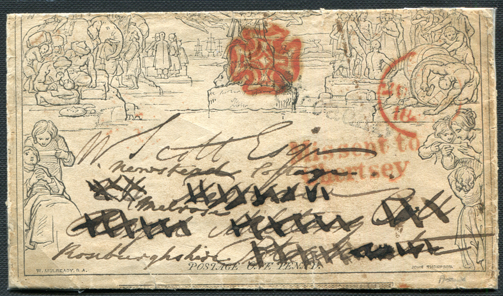 Mulready - 1840 One Penny Letter Sheet Forme 5 Stereo A241, much travelled/re-directed, 'Missent to Chertsey' h/stamp in red