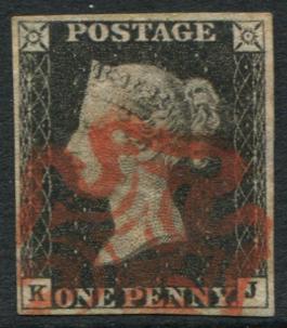 1840 1d black - Pl.1a KJ, fine red Maltese Cross