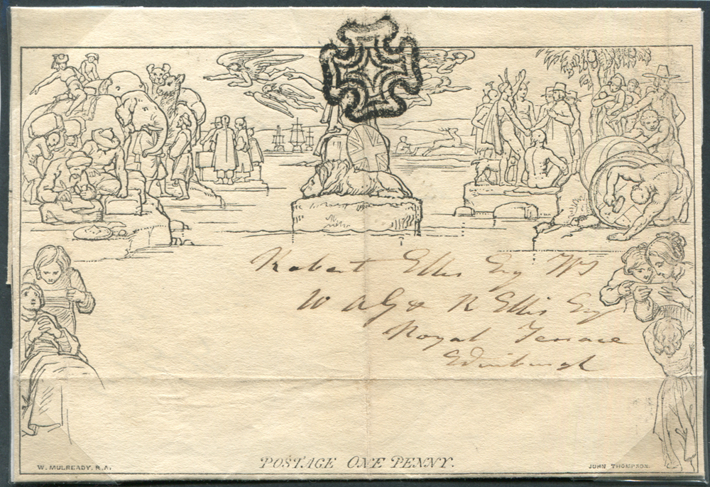 Mulready - 1842 One Penny Letter Sheet, cancelled by a superb Perth Maltese Cross