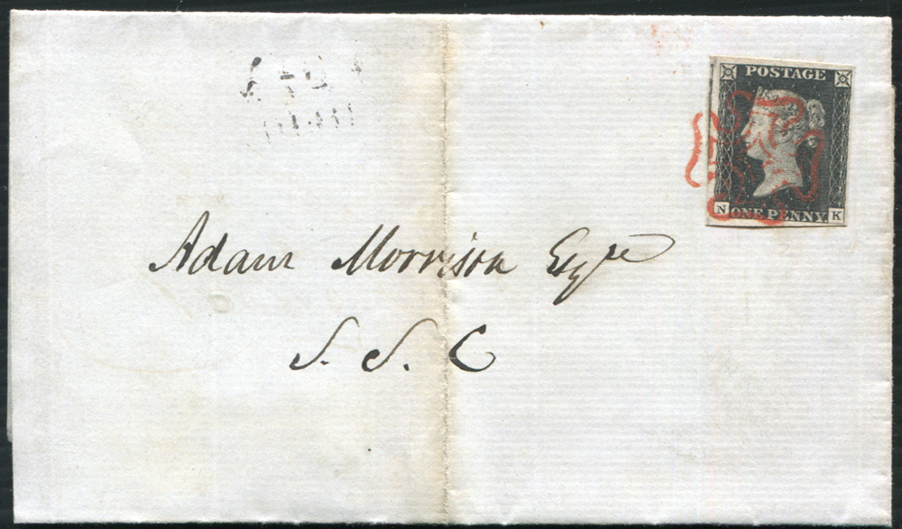 1840 May 27th cover from Edinburgh to Adam Morrison Esq S.S.C, franked Pate 2 NK