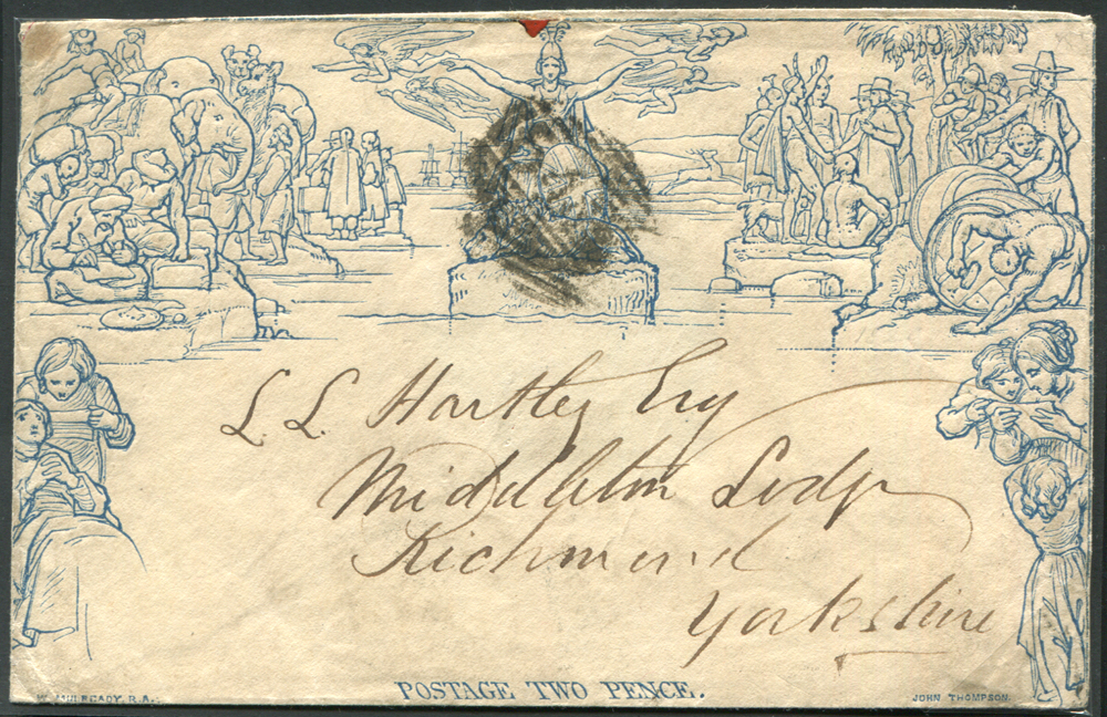 Mulready - 1840 Twopence Envelope Stereo '201' from Newcastle on Tyne to Richmond (Yorks)