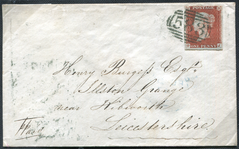 1847 Feb 5th envelope from Nottingham to Illston Grange, Kibworth, Leicestershire, franked 1d red brown Plate 69 PJ