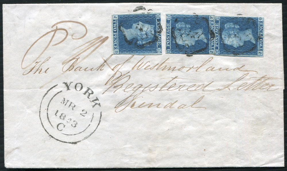1843 registered cover from York to Kendal, franked 1841 2d Plate 3 JD, JF & JG