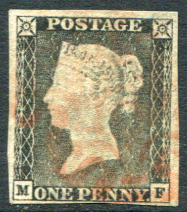 1840 1d black - Pl.1a MF, grey black (worn plate), watery red Maltese Cross