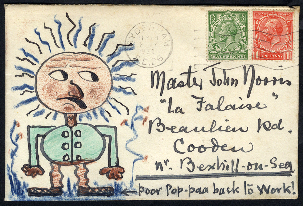 1934 Norris Correspondence 'Poor Pop-Paa back to work!' hand illustrated envelope.