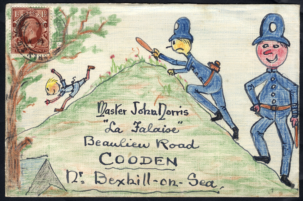 1934 Norris Correspondence 'The one that got away' hand illustrated envelope.