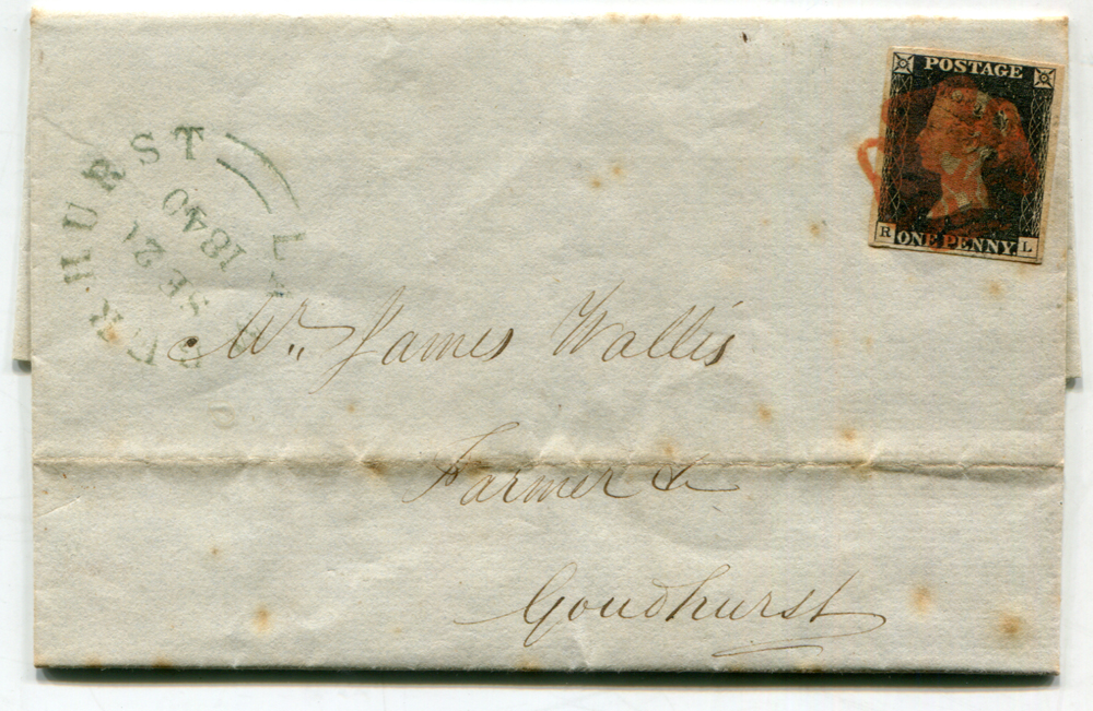 1840 Sep 21st cover from Nevendon (Nr Basildon) to Goudhurst, Kent, franked 1d black Pl.1b RL