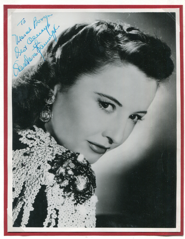 STANWYCK, BARBARA 1907-90 (American actress) black & white vintage photograph signed in fountain pen. Superb quality.